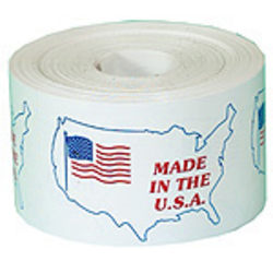 "Tape Logic® Preprinted Shipping Labels, USA503, ""Made In The U.S.A.,"" 4 1/2"" x 3"", Red/White/Blue, Roll Of 500"