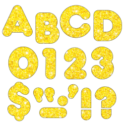 """TREND Ready Letters®, Casual, 3"""", Yellow Sparkle, Pre-K - Grade 12, Pack Of 124"""