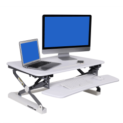 FlexiSpot Height-Adjustable Standing Desk Riser With Removable Keyboard Tray, White