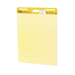 "Post-it® Super Sticky Easel Pad, 25"" x 30"", Yellow With Blue Lines, Pad Of 30 Sheets"