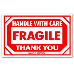 "Tape Logic® Preprinted Shipping Labels, SCL576, ""Handle With Care Fragile Thank You,"" 3"" x 5"", Red/White, Pack Of 500"