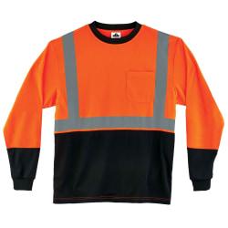 Ergodyne GloWear 8291BK Type-R Class 2 Long-Sleeve T-Shirt, X-Large, Black/Orange