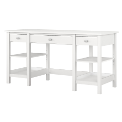 """Bush Furniture Broadview 60""""W Desk With Storage Shelves And Drawers, Pure White, Standard Delivery"""
