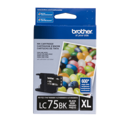 Brother® LC75BK, High-Yield Black Ink Cartridge
