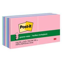 "Post-it® Notes Greener Pop-Up Notes, 3"" x 3"", 100% Recycled, Helsinki, Pack Of 12 Pads"