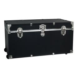 "Advantus Stackable Footlocker Trunk With Wheels, 17"" x 31"" x 12-3/4"", Black Trooper/Nickel"