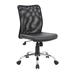 Boss Office Products Budget Fabric Mesh-Back Task Chair, Black/Silver