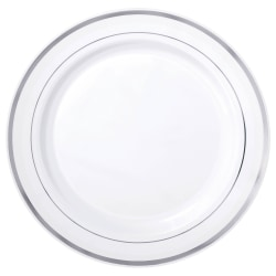 """Amscan Plastic Plates With Trim, 7-1/2"""", White/Silver, Pack Of 20 Plates"""
