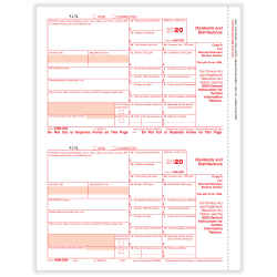 """ComplyRight™ 1099-DIV Tax Forms, 2-Up, Federal Copy A, Laser, 8-1/2"""" x 11"""", Pack Of 100 Forms"""