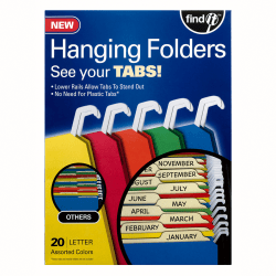 Find It® Tab-View Hanging File Folders, Letter Size, 70% Recycled, Assorted Colors, Pack Of 20