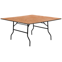 "Flash Furniture Square Folding Banquet Table, 30-1/8""H x 60""W x 60""D, Natural/Black"
