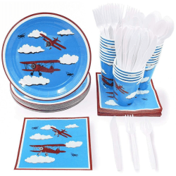 "Airplane Party Supplies €"" Serves 24 €"" Includes Plates, Knives, Spoons, Forks, Cups And Napkins. Perfect Airplane Party Pack For Kids Airplane Themed Parties."