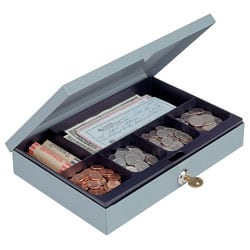 "Ultra-Slim Cash Box With Security Lock, 2""H x 11 1/4""W x 7 1/2""D, Gray"