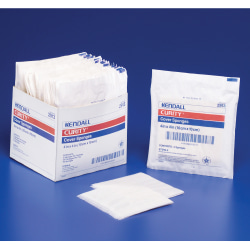 """Covidien CURITY™ Cover Sponges, Sterile, 4"""" x 4"""", 2 Per Peel-Back Pack, Pack Of 25"""