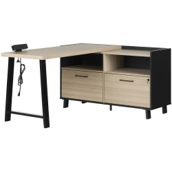 "South Shore Kozack 51""W L-Shaped Desk, Soft Elm/Matte Black"