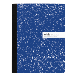 "Office Depot® Brand Composition Notebook, 9-3/4"" x 7-1/2"", Wide Ruled, 200 Pages (100 Sheets), Blue"