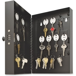 "Key ""Hook Style"" 28-Key Cabinet With Combination Lock, Putty"