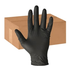 ProGuard Disposable Nitrile General Purpose Gloves - Large Size - Nitrile - Black - Ambidextrous, Disposable, Powder-free, Beaded Cuff - For Cleaning, General Purpose, Material Handling, Chemical - 1000 / Carton