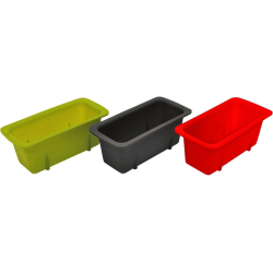 Starfrit Silicone Mini Loaf Pans, Set of 3 - 10.8 fl oz Loaf Pan - Silicone - Baking - Green, Red, Gray