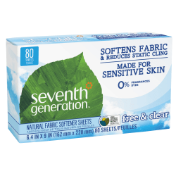 "Seventh Generation™ Free & Clear Natural Fabric Softener Sheets, 6-3/8"" x 9"", 80 Sheets Per Box, Case Of 12 Boxes"