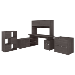 """Bush Business Furniture Jamestown 72""""W L-Shaped Desk With Hutch, Lateral File Cabinet And 6-Cube Organizer, Storm Gray, Standard Delivery"""