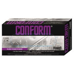 Ansell Conform Natural Rubber Latex Gloves, Medium, Brown, Box Of 100 Gloves