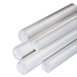 "Office Depot® Brand White Mailing Tubes With Plastic Endcaps, 2 1/2"" x 24"", 80% Recycled, Pack Of 34"