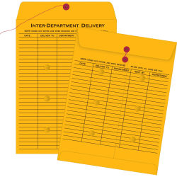 "Quality Park® Interdepartment String & Button Closure Envelopes, 10"" x 13"", 2-Sided Narrow Rule, Brown, Box Of 100"