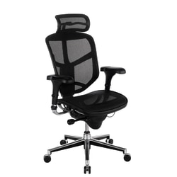 WorkPro® Quantum 9000 Mesh Series High-Back Executive Desk Chair With Headrest, Gray/Black