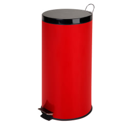 "Honey-Can-Do Round Steel Step Trash Can With Bucket, 7.9 Gallons, 25""H x 11 1/2""W x 11 1/2""D, Ruby Red"