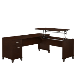 """Bush Furniture Somerset 3 Position Sit to Stand L Shaped Desk, 72""""W, Mocha Cherry, Standard Delivery"""