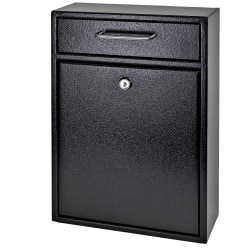"Mail Boss Locking Security Drop Box, 16 1/4""H x 11 1/4""W x 4 3/4""D, Black"