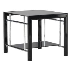 Powell Gerst Glass Side Table Black Office Depot