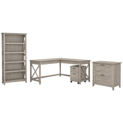 """Bush Furniture Key West 60""""W L Shaped Desk with File Cabinets and 5 Shelf Bookcase, Washed Gray, Standard Delivery"""