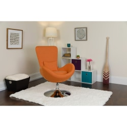 Flash Furniture Egg Side Reception Chair With Bowed Seat, Orange/Chrome