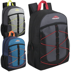 Trailmaker Equipment Bungee Backpacks, Assorted Colors, Case Of 24 Backpacks