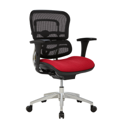 WorkPro® 12000 Series Ergonomic Mesh/Fabric Mid-Back Manager's Chair, Cherry/Black/Chrome