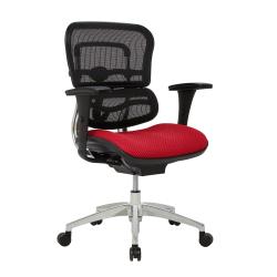 WorkPro® 12000 Series Ergonomic Mesh/Premium Fabric Mid-Back Chair, Cherry/Black/Chrome