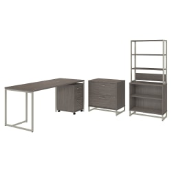 "kathy ireland® Office by Bush Business Furniture Method 72""W Table Desk with File Cabinets and Bookcase, Cocoa, Standard Delivery"