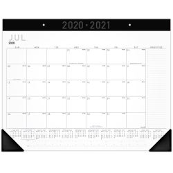 "AT-A-GLANCE® Contemporary Monthly Academic Desk Pad Calendar, 21-3/4"" x 17"", July 2020 To June 2021, AY24X00"