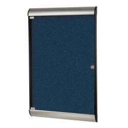 "Ghent Silhouette 1-Door Enclosed Bulletin Board, Vinyl, 42-1/8"" x 27-3/4"", Navy, Satin Black Aluminum Frame"