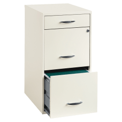 "Lorell® 18""D Vertical 3-Drawer File Cabinet, Metal, Pearl White"
