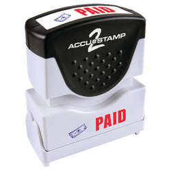 """Accu-Stamp2® Pre-Ink Message Stamp, """"Paid"""", Blue/Red"""