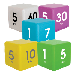 Datexx Time Cube® Preset Timers, Blue/Green/Yellow/Purple/White, Pre-K - College, Pack Of 5