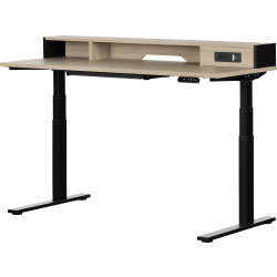 "South Shore Zelia 60""W Height-Adjustable Standing Desk, Soft Elm/Matte Black"