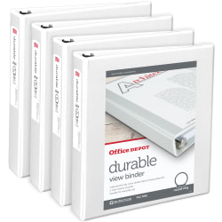"""Office Depot® Brand Durable Round-Ring View Binders, 1-1/2"""" Rings, White, Pack Of 4"""