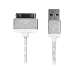 Duracell® Sync-And-Charge Fabric Cable, USB-To-30-Pin, 10', White, LE2185