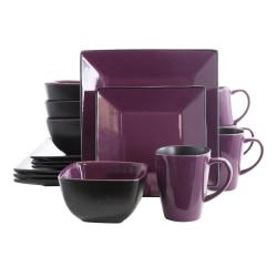 Elama 16-Piece Stoneware Dinnerware Set, Mulberry Loft