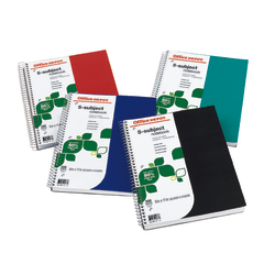 "Office Depot® Brand FSC Certified Notebook, 9"" x 11"", 5 Subject, College Ruled, 200 Sheets, Assorted Colors"