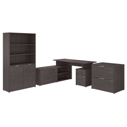 """Bush Business Furniture Jamestown 60""""W L-Shaped Desk With Lateral File Cabinet And 5-Shelf Bookcase, Storm Gray, Standard Delivery Service"""